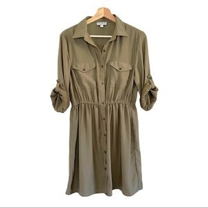 Cotton On Olive Button Front Shirt Dress